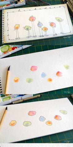 Creative with paint and fineliner. craft drawing - Creative with paint and fineliner. craft drawing You are in the right place about healt ph - Art For Kids, Crafts For Kids, Watercolor Cards, Watercolor Projects, Diy Cards, Doodle Art, Painting & Drawing, Circle Painting, Watercolor Painting