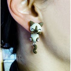 Siamese Cat Clinging Ears, fimo, handmade,hecho a mano,polymer clay,cuelga orejas,earrings,gato,pendientes,