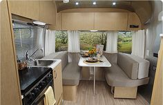 Aluminum and light wood airstream interior