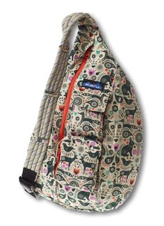 """KAVU Rope Bag-Cozy Critters-Adjustable rope shoulder strap, two vertical zip compartments, two key or cell phone pockets, padded back with KAVU embroidery. Fabric: Cotton. Dimensions: 11"""" x 20""""."""