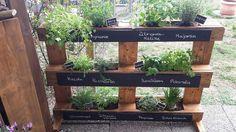 Diy idea for a herb garden. #pallet #chalk #paint #kruidentuin