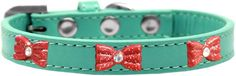 Mirage Pet Products Glitter Bow Widget Dog Collar, Size 16, Aqua/Red * Details can be found by clicking on the image. (This is an affiliate link and I receive a commission for the sales)