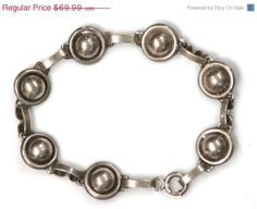 35% OFF SALE Danecraft, Bracelet, Sterling Silver, Orb, Link, Vintage Jewelry