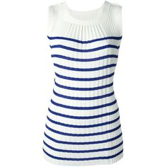 JEAN PAUL GAULTIER SOLEIL pleated knit tank ($270) ❤ liked on Polyvore featuring tops, sleeveless tops, white, white knit tank top, collar top, white tank top, sailor top and sleeveless tank tops