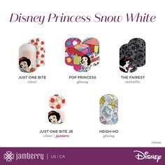 Which Disney Collection by Jamberry, Volume II wraps are your favorite? I am so excited to see Juniors available! My daughter will love them!  Get yours here florellis.jamberry.com/disneycollection Jamberry Nail Wraps, Jamberry Disney, Disney Nails, Cute Nails, Swag Nails, Snow White Nails, White Nail Art, Manicure, Jamberry Consultant