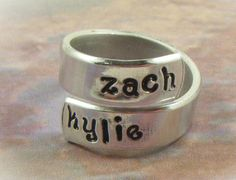 Hand stamped wrap ring with your babies' names; it sure would make an awesome Mother's Day gift ;)