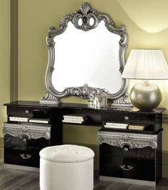 Camel Barocco Black and Silver Italian Vanity Dresser with Mirror