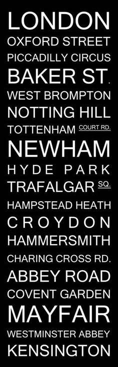 London Bus Scroll Subway Sign