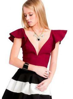 Ruby Flutter Sleeve Plunging Crop Top #ruby #vneck #sweetheart #croptop #sexytop #ustrendy