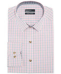 Bar III Carnaby Collection Slim-Fit Coral and Blue Check Dress Shirt