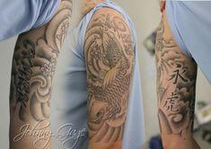 Chinese traditional Tiger/ gray wave Tattoos | japanese koi half sleeve tattoo