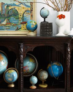 A collection of globes.
