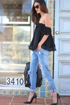 off shoulder top + distressed denim