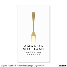 Elegant faux gold fork catering logo business card elegant faux gold fork catering logo ii business card reheart Gallery