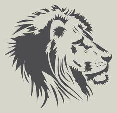 Tête de Lion. Pochoir lion. Pochoir en vinyle adhésif (ref 279-2)