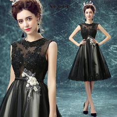 Short Black Sexy Elegant Lace Evening Dress  Beading Flower O-Neck $100.99   => Save up to 60% and Free Shipping => Order Now! #fashion #woman #shop #diy  http://www.weddress.net/product/short-black-sexy-elegant-lace-evening-dress-2016-beading-flower-o-neck-bride-dresses-formal-wedding-party-gowns-vestido-de-festa