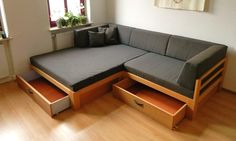 Find home projects from professionals for ideas & inspiration. Sofa mit viel Stauraum by TRaumkonzepte Raumausstattung und Polsterei Sofa Bed Design, Living Room Sofa Design, Bedroom Furniture Design, Home Room Design, Home Decor Furniture, Pallet Furniture, Home Living Room, Sofa Furniture, Furniture Market