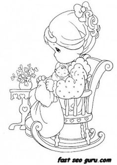 Precious Moments girl sitting on chair coloring pages - Printable Coloring Pages For Kids