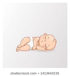 Cute little baby boyar girl in diaper sleeping. Active baby of age from 6 months… Mignonne petite fille garçon boyar … Human Figure Sketches, Figure Sketching, Baby Girl Drawing, Drawing For Kids, Cute Little Baby, Cute Babies, Scrapbook Bebe, Baby Icon, Baby Illustration