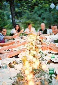 Outdoor summer garden wedding celebration by peachesandmint.com