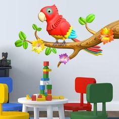 Vinilos Infantiles: Loro de colores en la rama #vinilo #pared #infantil #decoración #casa #pájaro #ave #TeleAdhesivo