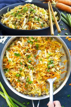 Egg Roll in a Bowl recipe is loaded with Asian flavor ground turkey or chicken shredded cabbage and is a low-carb keto Paleo and gluten-free dinner recipe. You can meal prep and plan it or whip it up as a meal on a busy weeknight! Gluten Free Recipes For Dinner, Paleo Recipes, Low Carb Recipes, Cooking Recipes, Slimfast Recipes, Healthy Cabbage Recipes, Recipes With Cabbage, Shredded Cabbage Recipes, Easy Paleo Meals