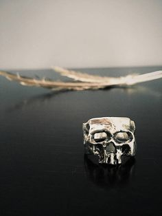 Sterling Silver Skull Ring, Men's Ring, Rustic Ring, Viking Ring, Heathen Ring, Tribal Ring, Skull Jewellery, Skull Jewelry, Men's Jewellery