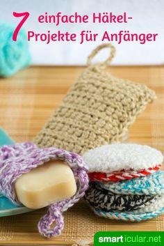 Spülschwamm, Seifensäckchen, Einkaufsnetz oder Weihnachtsschmuck - all das musst du nicht mehr kaufen! Hier findest du die Häkelanleitungen zum Selbermachen. Learn To Crochet, Diy Crochet And Knitting, Easy Crochet, Crochet Hats, Crochet Projects, Diy Gifts, Crochet Earrings, Tawashi, Filets