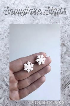 White glitter polymer clay snowflake earrings with silver earring hoops. Perfect earring for the winter season. Wear to a holiday party. Give as a birthday or christmas gift for the jewelry lover. Shop small and support small businesses this holiday season. Shop these handmade statement earrings in my etsy shop! White Earrings, Silver Hoop Earrings, Statement Earrings, How To Clean Earrings, Unique Gifts For Her, Art Deco Earrings, Holiday Jewelry, White Glitter, Minimalist Earrings