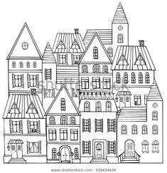 Shutterstock 컬렉션에서 HD 화질의 Black White Sketch Panorama City Doodle 스톡 이미지와 수백만 개의 사용료 없는 다른 스톡 사진, 일러스트, 벡터를 찾아보세요.  매일 수천 개의 고품질 사진이 새로 추가됩니다. Doodle Sketch, Doodle Drawings, Easy Drawings, Doodle Art, Black And White City, Black And White Sketches, Black Art, City Drawing, House Drawing