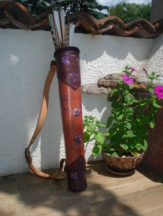 Tooled Leather Back Quiver Purple Leaves Archery Quiver, Archery Set, Arrow Quiver, Archery Bows, Leather Quiver, Leather Tooling, Tooled Leather, Medieval, Steampunk