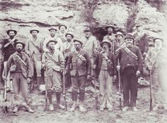 """BOER'S IN BRITISH UNIFORMS.... Deneys Reitz mentions in his book that at first the Boers didn't know why prisoners were being shot. Deneys at one point wore a full lancer uniform that belonged to Lord Vivian...he even jokingly referred to himself and his comrades as the """"Englishkilling fusiliers""""."""