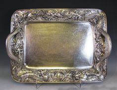 Japanese Silver Tray with Dragons