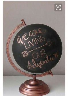 "Items similar to Hand Painted Globe 8 "". Chalkboard Globe on Etsy - Upcycling a globe with hand lettering – We are living our adventure – wonderful decoration idea - Painted Globe, Hand Painted, Deco Rose, Deco Addict, Bulletins, Home And Deco, Handmade Home Decor, Diy Room Decor, Bedroom Crafts"