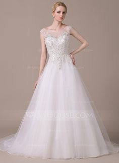 Ball-Gown Scoop Neck Court Train Tulle Lace Wedding Dress With Beading Sequins (002058767)
