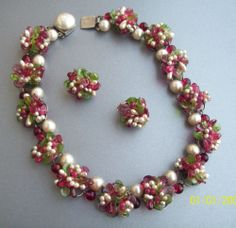 Vtg Made in France Gripoix Poured Glass Pearl Cluster Necklace Earrings Set   eBay