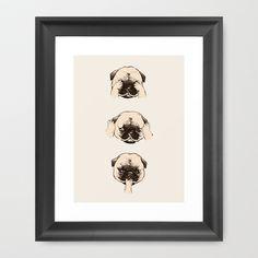 No Evil Pug  Framed Art Print by Huebucket - $40.00