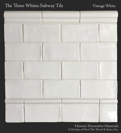 Historic Decorative Materials Three Whites Subway Tile in Vintage White Ceramic Subway Tile, Subway Tiles, Tile Wood, Subway Tile Patterns, Limestone Flooring, Oak Flooring, Primitive Kitchen, Primitive Bathrooms, Wood Stone