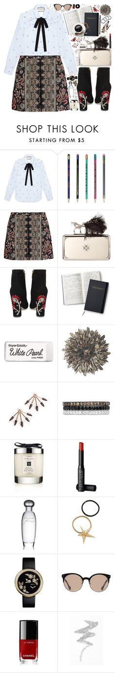 """All I Ask"" by beautifully-eclectic ❤ liked on Polyvore featuring Gucci, Valentino, Alexander McQueen, Dolce&Gabbana, Paper Mate, WALL, Effy Jewelry, Jo Malone, NARS Cosmetics and Estée Lauder"