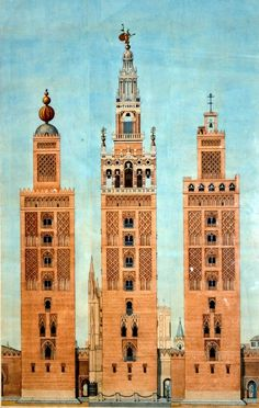 Three stages in the life of the Giralda: The left tower is the Almohad minaret (1198), with its foud gilded 'apples'; the right tower, under Christian control (1400), is topped with a bell; the center tower (1568) features the renaissance belfry of Hernan Ruiz.