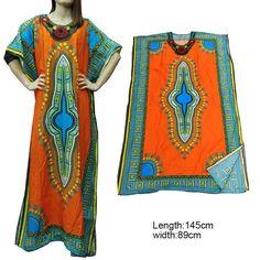 Orange African Dashiki Poncho Tribal Long Shirt Maxi Kaftan 100% Cotton LBL003-1…
