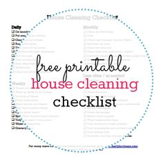 A free printable (PDF) house cleaning checklist to help you keep up with everyday chores.