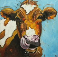 Cow painting 487 24x24 inch original oil painting by Roz by RozArt. $250.00 USD, via Etsy.
