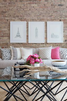 Simple and glam, toned down with that gorgeous exposed brick wall.