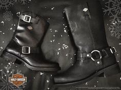 Best gifts for the baddest on your list. Harley-Davidson footwear women's Halsey and men's Westmore motorcycle boots