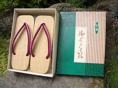 Japan Wooden Clogs Footware Geta Japanese Cypress Non Slip Rubber with Box