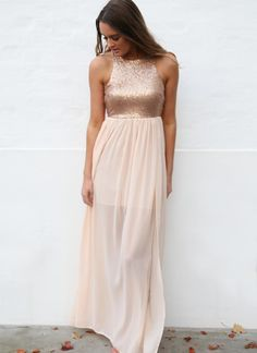 colour: blush fabric with blush/rose gold sequins%0A%0Afit: standard sizing, tight fitting non-stretch bodice, short lining under lightweight chiffon skirt, exposed back zip%0A%0Alength: to floor on 177cm tall model%0Aour model is 177cm tall and is pictured in a size 8/S%0A%0ANOTE: sequins are more bronze than appear in photo