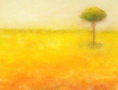 paisaje amarillo con árbol de Joana Cerdá