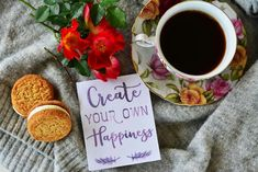 Food photography, cookies, wild roses, coffee, vintage, happiness