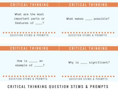 Encourage critical thinking in the classroom: 28 Critical Thinking Question Stems & Response Cards